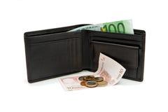 Geïsoleerdee portefeuille en euro bankbiljetten en muntstukken Royalty-vrije Stock Foto's