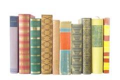 Geïsoleerdee rij van boeken stock foto