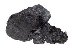 Geïsoleerdee steenkool, koolstofgoudklompjes stock afbeeldingen