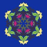 Geïsoleerdee vectorillustratie Abstract bloemendecor Overladen zes puntster of mandala met uitstekende motieven vector illustratie