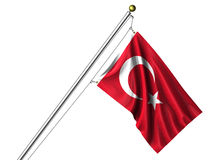 Geïsoleerdef Turkse Vlag Royalty-vrije Stock Foto's