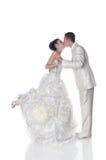 Geïsoleerdeg bruid en bruidegom Stock Foto's