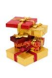 Geïsoleerdeg de dozen van de gift royalty-vrije stock afbeelding