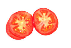 Geïsoleerdeg de plakken van de tomaat Stock Fotografie