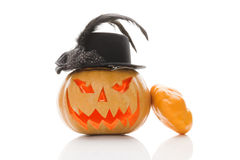 Geïsoleerdeg de pompoen van Halloween Royalty-vrije Stock Foto