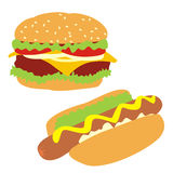 Geïsoleerdeg hamburger en hotdog Stock Foto's