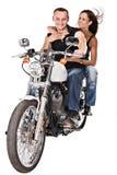 Geïsoleerdeg vrouw op motor stock foto's