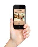 Geïsoleerdee vrouwenhand die de telefoon met een mobiel portefeuille en p houden Royalty-vrije Stock Fotografie