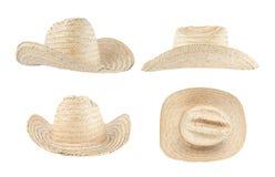 Geïsoleerdei de hoed van het stro Stock Foto