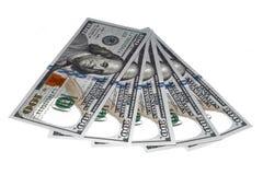 100 geïsoleerdei dollarsnota's Royalty-vrije Stock Afbeeldingen