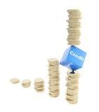 Geïsoleerdei het risicoconceptie van het krediet als muntstukstapels Royalty-vrije Stock Afbeelding