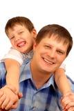 Geïsoleerdei vader en zoon Stock Afbeelding