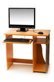 Geïsoleerdek computer en bureau Stock Afbeeldingen