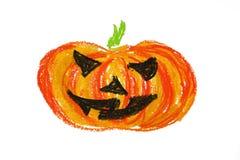 Geïsoleerdek de pompoentekening van Halloween Vector Illustratie