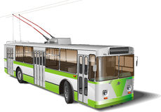 Geïsoleerdek de trolleybus van de stad Royalty-vrije Stock Afbeeldingen