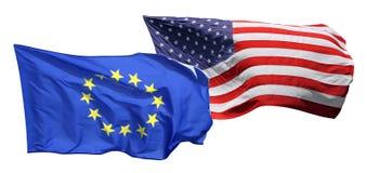 Geïsoleerdek vlaggen van de V.S. en de EU, Royalty-vrije Stock Foto's