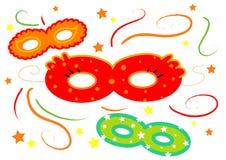 Geïsoleerdel de maskers van Carnaval stock illustratie