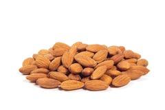 Geïsoleerdel de noten van de amandel stock afbeelding