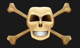 Geïsoleerdel gouden schedel en beenderen Stock Foto