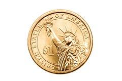 Geïsoleerdel het muntstuk van de dollar Stock Foto's