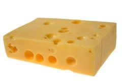 Geïsoleerdem plak van kaas, Royalty-vrije Stock Afbeeldingen