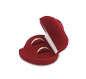 Geïsoleerdem trouwringen in een hart gevormde doos, Royalty-vrije Stock Afbeelding