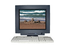 Geïsoleerden computermonitor met het concept van de vakantiescène Royalty-vrije Stock Afbeeldingen