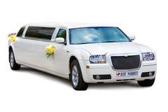 Geïsoleerden de limousine van het huwelijk Stock Fotografie