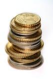 Geïsoleerden de muntstukken van Europa Stock Foto's