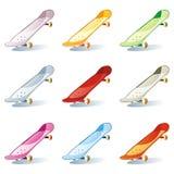 Geïsoleerden gekleurde skateboardreeks Stock Fotografie