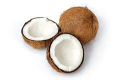 Geïsoleerden het nog-leven van de kokosnoot stock fotografie