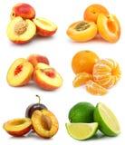 Geïsoleerden inzameling van rijp fruit stock foto