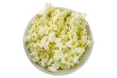 Geïsoleerde popcornkom stock foto