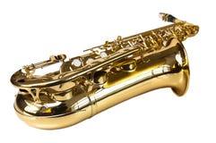 Geïsoleerden saxofoon, saxofoon op witte achtergrond Stock Afbeeldingen