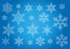 Geïsoleerden sneeuwvlokken Stock Afbeeldingen