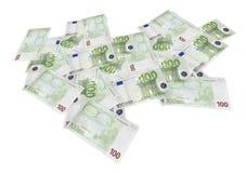Geïsoleerden uitgespreide euro bankbiljetten Royalty-vrije Stock Foto's