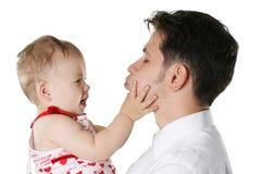 Geïsoleerden vader met kind Stock Afbeeldingen