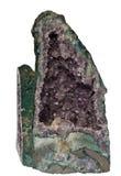 Geïsoleerden violetkleurige geode - totale mening Stock Foto