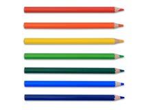 Geïsoleerdeo gekleurde potloden Royalty-vrije Stock Foto's