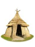 Geïsoleerdeo met stro bedekte hut stock afbeelding