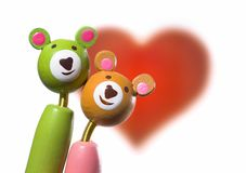 Geïsoleerdeo valentijnskaart teddies Royalty-vrije Stock Fotografie