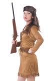 Geïsoleerdeo vrouw met kanon Stock Fotografie