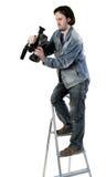 Geïsoleerdeo werkende cameraman Stock Foto