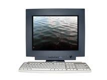 Geïsoleerdep computermonitor met eenzaamheidconcept Stock Fotografie