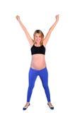 Geïsoleerdep zwangere vrouw royalty-vrije stock foto