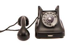 Geïsoleerdeq zwarte antieke telefoon royalty-vrije stock afbeelding