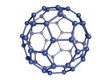 Geïsoleerder Blauwe C60 Fullerene Stock Afbeelding