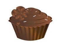 Geïsoleerder chocolade cupcake Stock Afbeeldingen