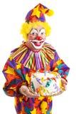 Geïsoleerder Clown met de Cake van de Verjaardag royalty-vrije stock foto