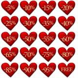 Geïsoleerder de kortingskentekens van de Valentijnskaart Stock Afbeelding